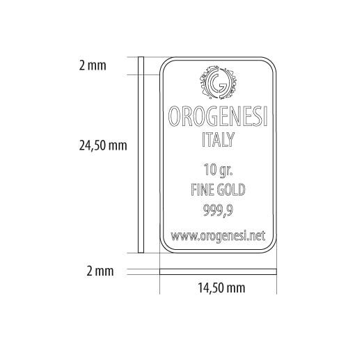 Lingotto d'Oro 10 Grammi - misure