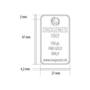 Lingotto d'Oro 100 Grammi - misure