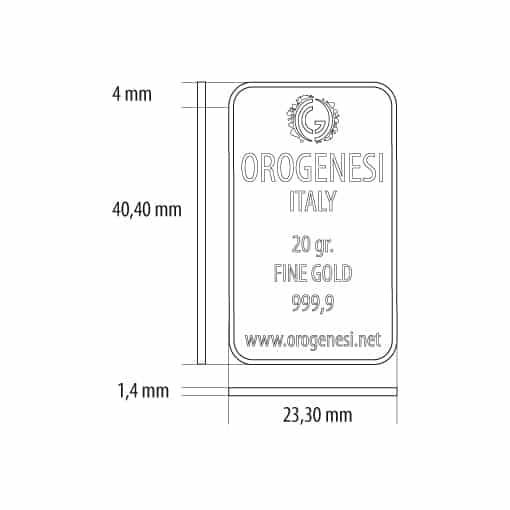 Lingotto d'Oro 20 Grammi - misure