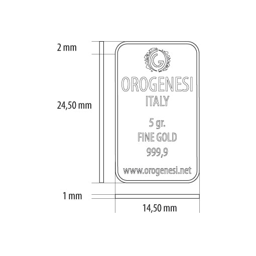 Lingotto d'Oro 5 Grammi - misure
