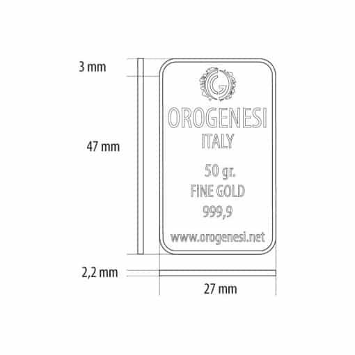 Lingotto d'Oro 50 Grammi - misure
