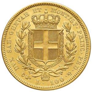 100 Lire Oro Carlo Alberto - retro