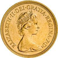 sterline d'oro Elisabetta II coronata giovane