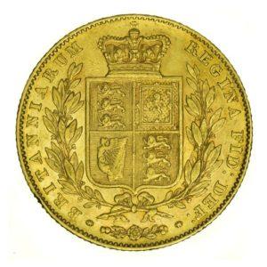 Sterlina d'Oro Vittoria Giovane con Stemma - retro