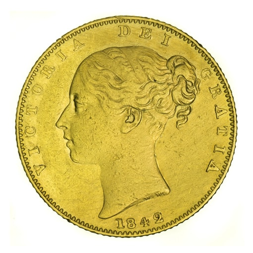 Sterlina d'Oro Vittoria Giovane con Stemma