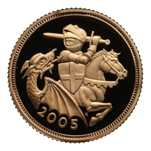 Mezza sterlina oro 2005 nuovo s giorgio proof retro