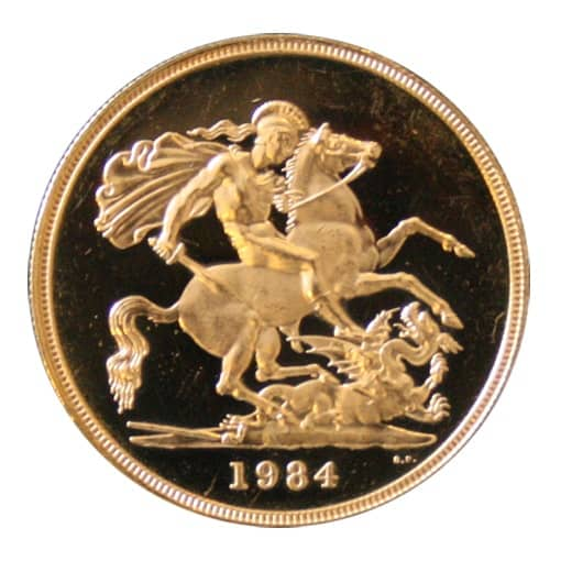 5 Sterline Oro 1984 Proof - Retro